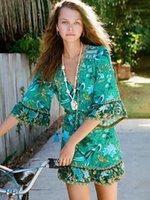 Jastie floral estampado mini vestido tassel corbata cuello boho vestidos 2020 verano vestido de verano vestido bohemio vestidos de playa vestidos1