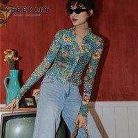 CHEERART Fall 2020 Women Mesh Dragon Print Shirt Long Sleeve Top Button Up See Through Top Fashion Designer Clothing Y1112