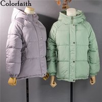 Colorfaith New Autumn Winter Women Jackets Quilted Puffer Parkas High-Quality Hooded Warm Solid Oversize Short Coat CO907 201106