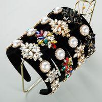 Vintage Color Cristal Flor Diadema para mujer elegante grande Pearl Pearl Black Velvet Hairbannd Female Party Headwear