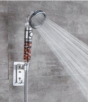 샤워 헤드 조정 가능한 3 모드 손으로 머리를 멈추기 위해 하나의 버튼을 절약합니다.