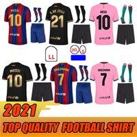 Jersey Barca 2021 Camiseta de Futbol Ansu Fati 2020 Grisezmann F.De Jong Maillots de Futebol Camisa Men + Kit Kit Kit
