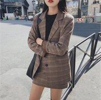 Mozuleva 2021 ретро клетчатая клетчатка Blazer набор однобортный куртка карандаш юбка 2 шт юбка костюм женское офисное женское блейзуйте костюм