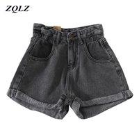 ZQLZ Moda Alto Cintura Denim Shorts Mulheres Verão Solta Vintage Casual Jeans Sexy Mulher Spring Outono Y200822