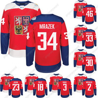 2016 Copa do Mundo de Hóquei República Checa Team Jersey 33 Nakladal 34 Mrazek 83 Hemsky 30 Neuvirth 64 Polak 2 Michalek 62 Sust Hockey Jerseys