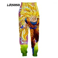 Liasoso New Fashion Hombres Pantalones para mujer Imprimir 3D Anime Goku Casual Lindo Harajuku Flojo Fitness Pantalones divertidos A126-61