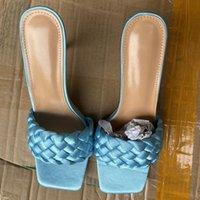 Ins Kadınlar Lüks Tasarım Slaytlar Örgü İpek Saten Dış Terlik Summers 10 cm Yüksek Topuklu Sandalet Lady Sıcak Satış Mavi Katmanlar Ayakkabı