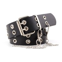 Women PU Leather Waist Belt Rivet Studded Double Row Holes C...