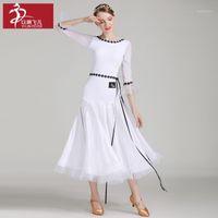 Branco e claro Vestido Longo de Ballroom Verde para Mulher Dança Waltz Tango Dançarino Fase Performance Costume Mordern Dancewear A00401