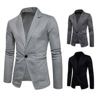 Botón sola pana de los hombres chaquetas casuales y chaqueta chaquetas para hombre delgado Oficina manga llena diseñador Blazer