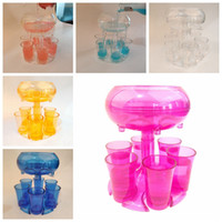 6 Shot cup Dispenser with 6 Acrylic Cups Hanging Holder Stand Rack Acrylic transparent Cocktail Party Get Together Wine Dispenser LJJK2506