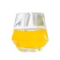 Copas de vino de vidrio de 300ml Copa de leche Copa de cristal de cristal Geometría Hexagonal Copa Phnom Penh Whisky Cup El envío marítimo HAHA3499