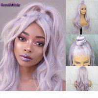Beau journal Futura Futura Dentelle Perruque synthétique de la dentelle Violet Mixte Blanc Couleur Naturel Wiv Wavy Wigs pour Black Femmes 13x6