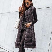Moda Kışlık Bayanlar Katı Renk Faux Kürk Jile Yelek Sıcak O-Boyun Kürkler Uzun Ceket Kolsuz Ceket Dış Giyim Chaquetas Mujer1