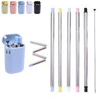 Conjunto de palha de silicone dobrável BPA Free Silicone Palha Metal Durável Palhas Reusável Reta De Aço Inoxidável Dobrável Beber Palha Acessórios