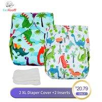Eezkoala Big XL-Größen-Windel + -Stuch-Tuch Windel-Abdeckung waschbares Baby wiederverwendbar echter Tuch-Taschen-Windelwindel-Cover LJ201026