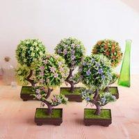 1PC artificial em forma de S Plum Blossom Tree Bonsai Simulação Plastic Tree Pequeno Planta de vaso Flores Início Mesa Jardim Decoração