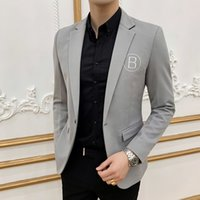 Letter Embroidery Mens Jacket Slim Fit Sleeve Small Suit Ves...