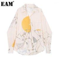 [EAM] Женщины бежевый узор напечатаны большой размер блузки Новый отворот с длинным рукавом свободные подходящие рубашки мода прилив весна осень 2021 1Z1421