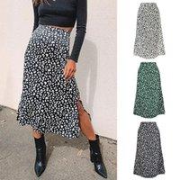 2020 новый сексуальный леопардовый печать шифон Сплит юбка повседневная мода длинные юбки для женщин весна лето ZIP элегантные женские юбки