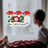 Quarantäne Weihnachtsdekoration Fenster-Aufkleber Weihnachtsmann Kühlschrank Tapete Kühlschrank PVC-Aufkleber 4-köpfige Familie Ornamen OOA9700