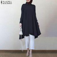 Blouses Femmes Chemises Zanzea 2021 Retro Asymétrical Femme Blouse Chemison Casual Manches Turquie Robe turque Femme Islam Solid Islam