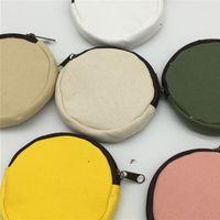 Blank Canvas fai da te tondo Zipper Sacchetti Cotone Kawaii Portamonete matita astucci Borse 8 colori GGB2422