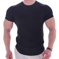 Черный тренажерный зал футболка мужчины фитнес спортивные хлопчатобумажные футболки мужской бодибилдинг тренировки тощий тройник футболка лето повседневная твердая вершина одежда KG-99