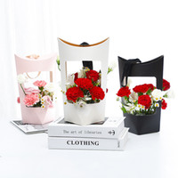 Portable Kraft Paper Bags Flower Rose Box With Handle Waterp...