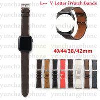 Per Apple Watch Band Letter Pelle per cinturino per orologio Apple 38mm 40mm 42mm 44mm cinghie per iWatch 6 5 4 3 2 cinturino
