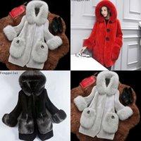Fengguilai moda winter mangas casaco longo casaco mulheres casacos de pele falsa outerwear 97yo