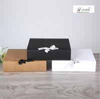 Gift Wrap 31 * 25.5 * 8 cm 15 stks natuurlijke kraftpapier bruiloft dozen bruin witte grote kleding verpakking doos