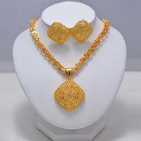 Luxus Hochzeit Braut Dubai Gold Schmuck Sets Für Frauen Kristall Halskette Ohrringe Afrikanische Perlen Schmuck Set Großhandel Design