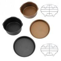 3 em 1 8 polegadas Multifuncional Air Fryer Acessórios Conjunto de Pão Bolo Barrel Pizza Pan Cozinha Cozinhar Ferramentas1