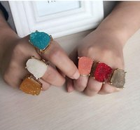 Ring for women natural big crystal stone female models exaggerated personality gold gemstone Rings