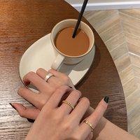 Mode réel doré mode simple bracelet bague en trois pièces combinaison combinaison combinaison élégante ouverture réglable index ajustable bague Internet