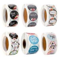 спасибо рождественских 500pcs круглым вы цветочные наклейки скрапбукинг для упаковки печати этикеток пользовательских наклеек украшения свадьбы