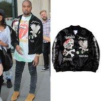Nero ricamo giacca uomo cranio floreali Giacche Uomo d'epoca e cappotti giapponese Streetwear Hip Hop Bomber