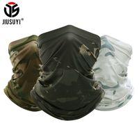 Jiusuyi Camouflage Atmungsaktive Hals Gaiter Stirnband Elastische Rohrschal Multicam Half Face Cover Bandana Balaclava Frauen Männer Neue 201026