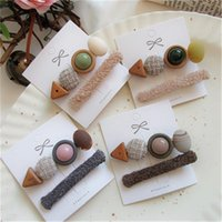 2pcs Geometric Women Side Clip Korea Combination Natural Wood Hair Clips Retro Cute Accessories Teen Toddlers Ladies Gift