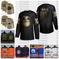 2021 사용자 정의 # 97 Connor McDavid Edmonton oilers 유니폼 골든 에디션 카모 재향 군인 날 싸움 암 사용자 정의 스티치 하키 유니폼
