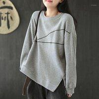 Johnature 2020 novo outono lazer o-pescoço de manga longa de algodão t - shirts simples moda confortável all-match mulheres tops1
