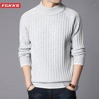 ФГККС мода мужские свитера осень мужские сплошные длинные рукава вязание пуловеры теплый тонкий свитер мужской одежда1