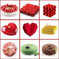 Torta che decora stampo 3d stampi in silicone in silicone strumenti per la cottura per torte rotonde cuore cioccolato Brownie Mousse Make Dessert Pan