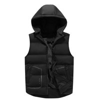 Vests with pockets new Detachable hat Mens winter Down Casual Waistcoat Sleeveless Jackets Men Hooded Vest