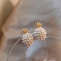 Damızlık Ananas Küpe Sevimli Romantik Moda Geometrik Mizaç Sözleşmeli Meyve Barok Inci Altın Küpe Kadınlar Düğün
