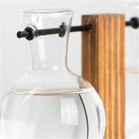 أزياء الأصالة زهرية البساطة إطار خشبي زجاجي زجاجي زجاجي شفاف سطح المكتب الحلي زهور بوتاني المزهريات الجديدة 10 8SY3 K2