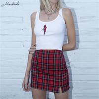 Macheda Womens Casual Rock Plaid Slim High Taille Reißverschluss Packung Hüfte Mode Damen Mini Bleistift Rock Frühling Neue Ankunft Y200326