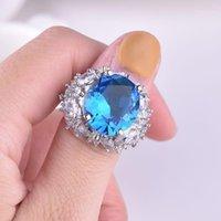 Anello con zaffiro di colore argento 925 con diamante per le donne Blue Topaz Gemstone gioielli nozze Pulseras de Plata de 925 Mujer Ring1