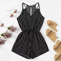 New Bodysuit Women Summer Sleeveless Strappy Short Playsuits Striped Cami Belt Romper Jumpsuit Loose Fashion 2020